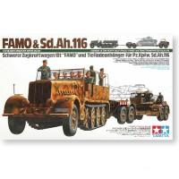 Сборная модель 1/35 Tamiya 35246 18-тонный тяжелый полугусеничный тягач FAMO с прицепом, 8 фигур